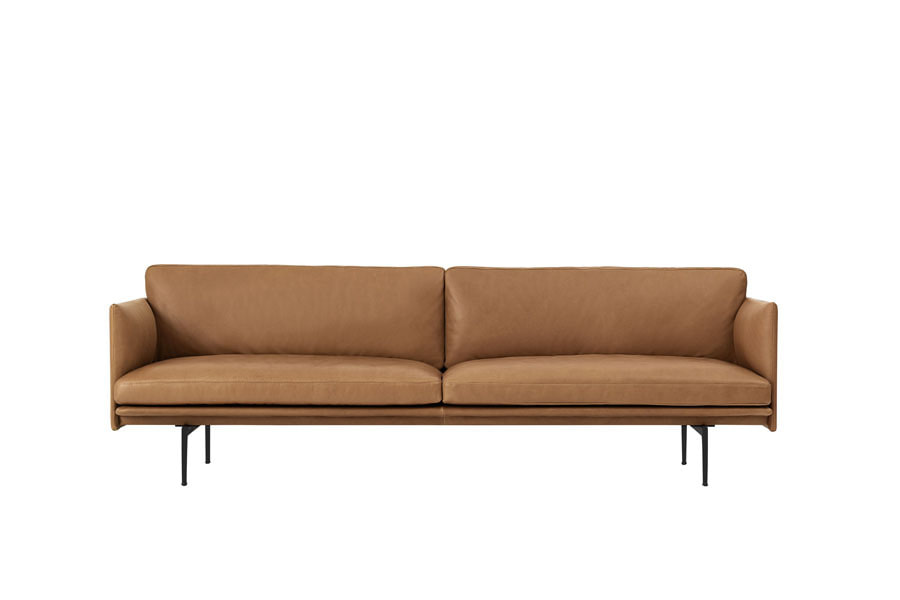 무토 아웃라인 소파 Outline Sofa 3Seater Refine Leather Cognac