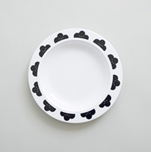 Happy Clouds Plastic Plate Black