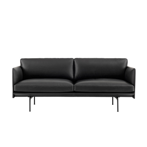 무토 아웃라인소파 Outline Sofa 2Seater Refine Leather Black