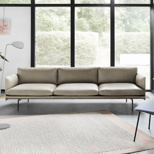 무토 아웃라인 소파 Outline Sofa 3½Seater Refine Leather Stone