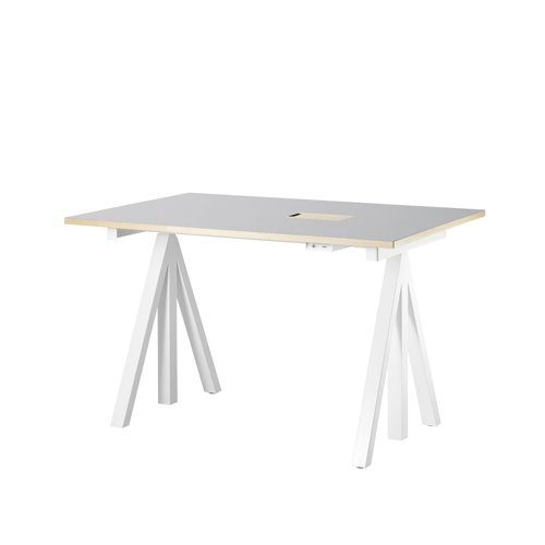 스트링 시스템 웍스 테이블 String System Height adjustable work desks Light Grey Linoleum Top + White Frame