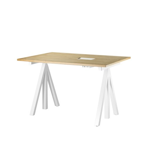스트링 시스템 웍스 테이블 String System Height adjustable work desks Oak Top + White Frame
