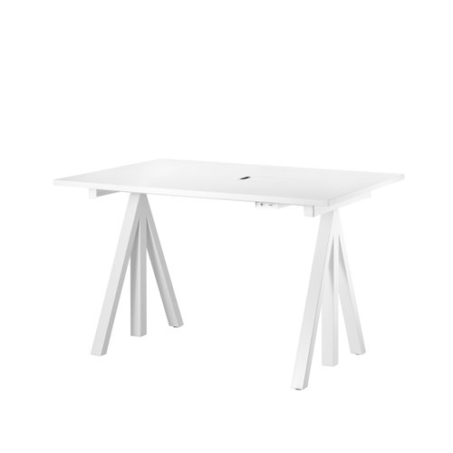 스트링 시스템 웍스 테이블 String System Height adjustable work desks White Laminate Top + White frame