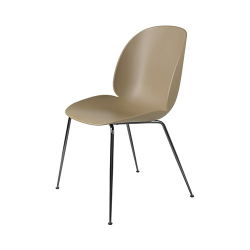 구비 비틀 다이닝 체어Beetle Dining Chair Black Chrome Frame / Pebble Brown